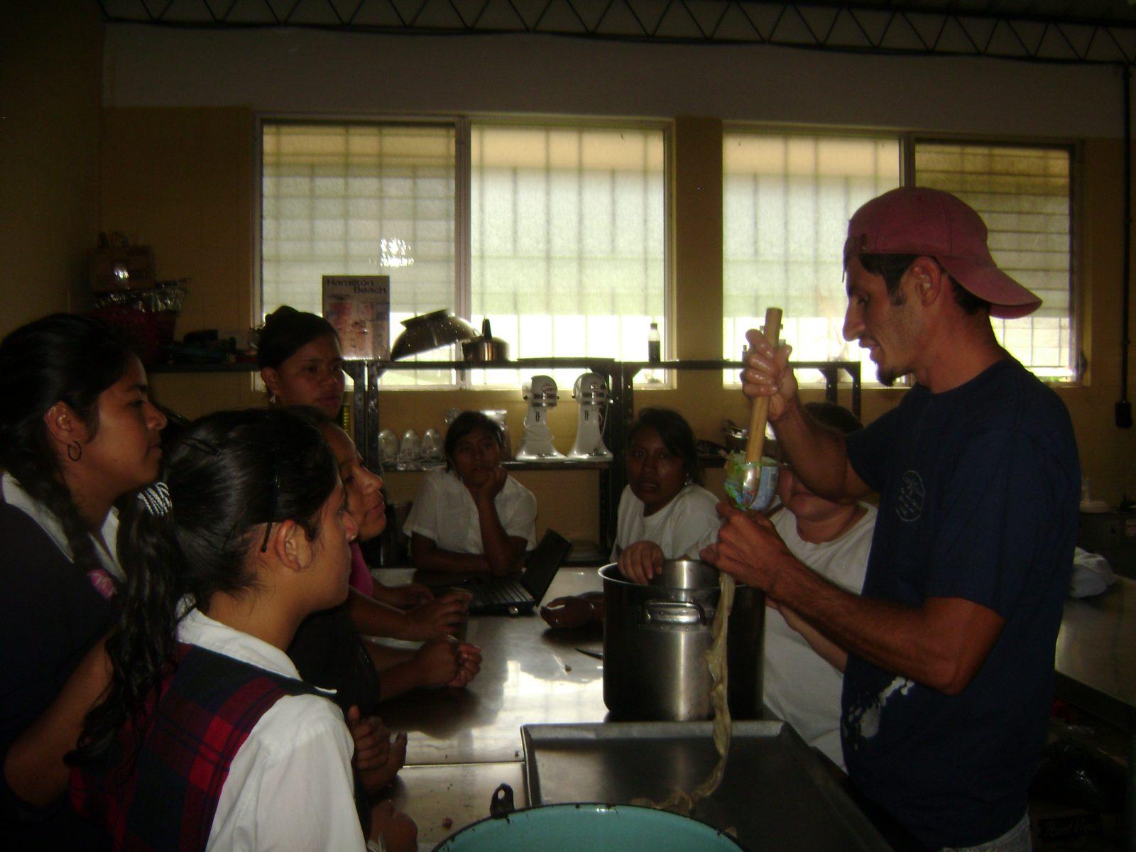 Showing how to stuff chorizo sausage