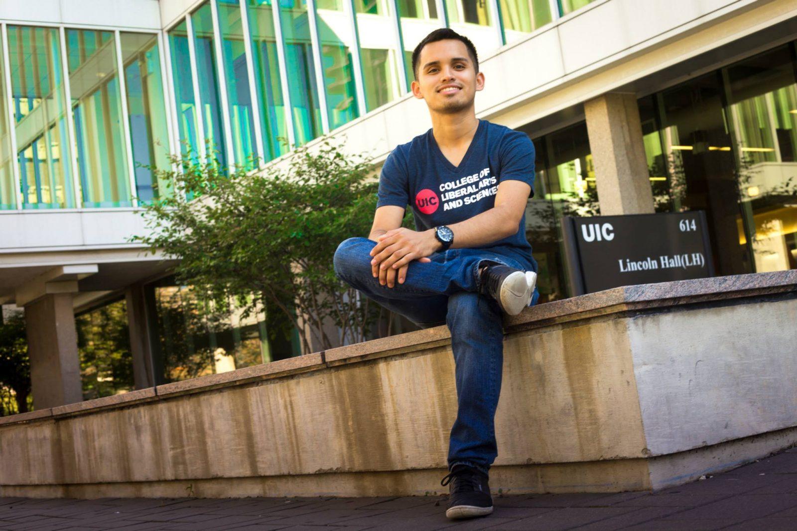 HEAR Graduate Scholar Carlos Montero at his home campus at UIC